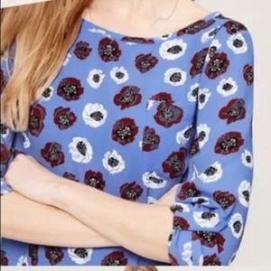 Ann Taylor LOFT Poppy Flower Blue White Red Large